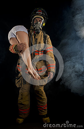 Fireman Saving A Victim Royalty Free Stock Photo - Image ...
