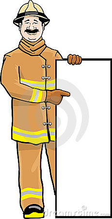 Fireman with sign