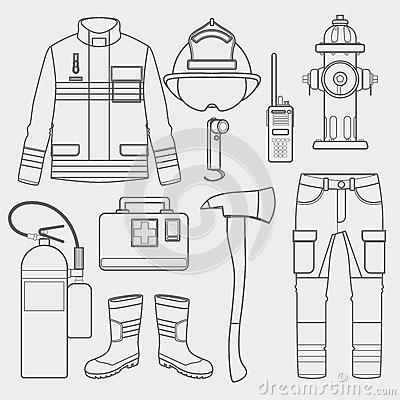 Free Fireman Uniform And First Help Equipment Set And Instruments. Royalty Free Stock Photography - 86164547