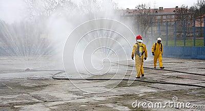 Firemen during action