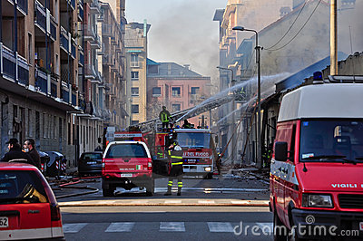 Firemen in action in Turin Editorial Image