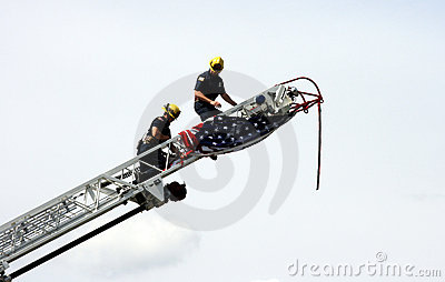 Firemen with American flag