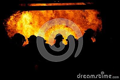 Firemen in the fire