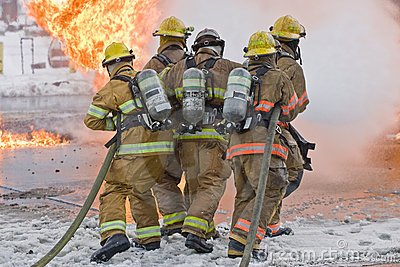 Firemen and flames