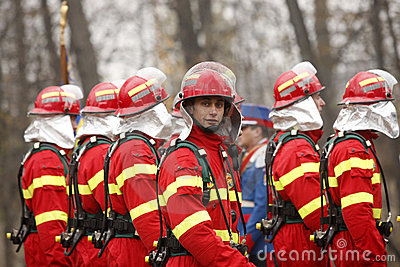 Firemen at the parade Editorial Stock Image