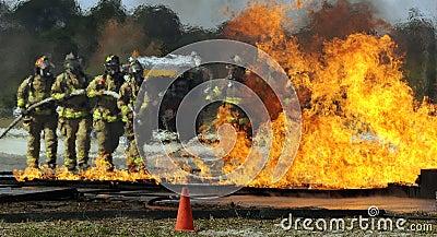 Firemen putting out fire