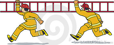 Firemen running with ladder