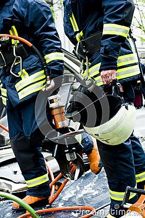 Firemen after work