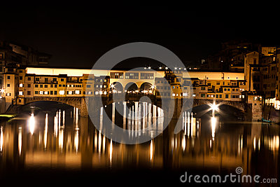 Firenze, Ponte Vecchio by night with Arno River