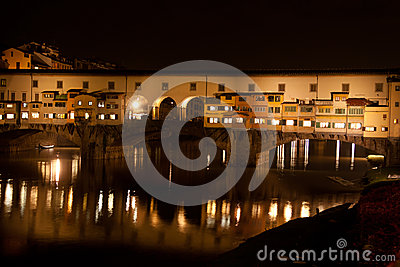 Firenze - Ponte Vecchio, Old Bridge by night with