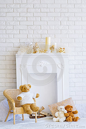 Free Fireplace And Teddy Bears Stock Image - 47732151