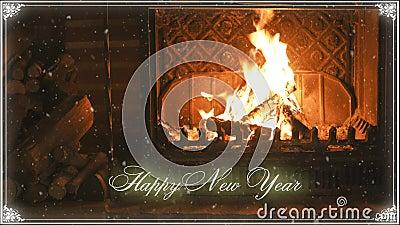 fireplace Ano novo e neve congratulation vídeos de arquivo