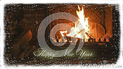 fireplace Ano novo e neve congratulation filme