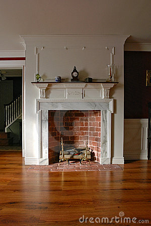 Fireplace in Antique Colonial Style Home Interior