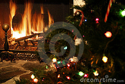 Fireplace & Christmas tree