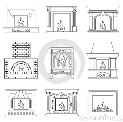 Free Fireplace In Outline Style. Royalty Free Stock Image - 89632176