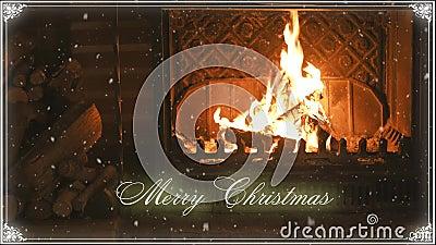fireplace Natal e neve congratulation ilustração stock