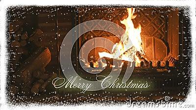 fireplace Natal e neve congratulation video estoque