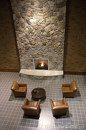 Fireplace in Reception and Waiting Room Area