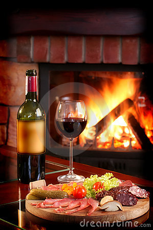 Fireplace And Red Wine
