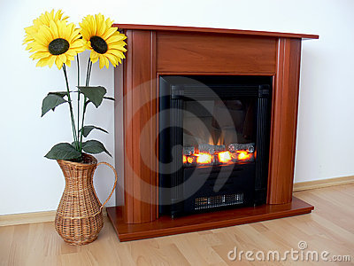 Fireplace and sunflowers