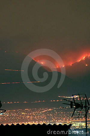 Fires above Athens, Greece