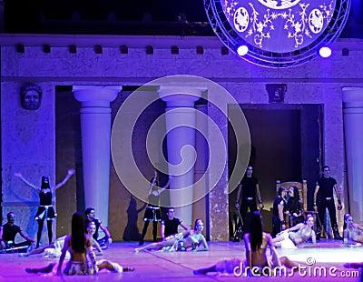 Fires of Anatolia. Performance in the amphitheater of Anatolia. Editorial Stock Photo