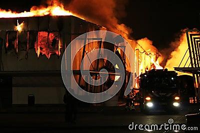 firetruck at building fire