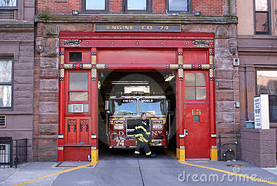 Firetruck in Firehouse Engine 74, New York City Editorial Photo