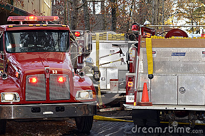 Firetrucks at a House Fire Editorial Stock Image