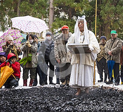 Firewalking at Shinto Ceremony Editorial Image