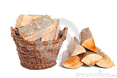 Firewood in basket
