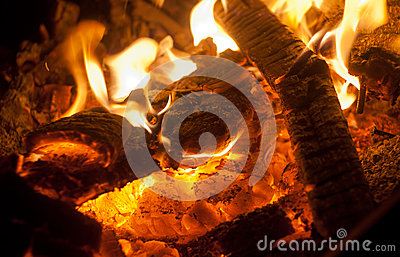 Firewood in fire