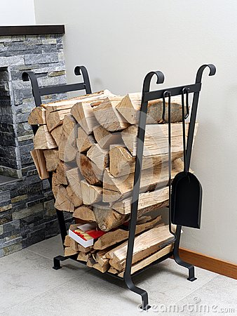 Firewood on metal stand