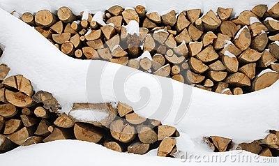 Firewood stashed in winter