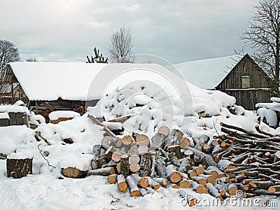 Firewood under snow