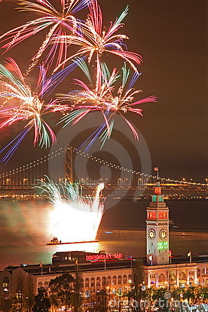 Firework above Ferry Building & Bay Bridge
