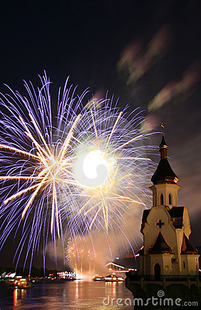 Free Firework And Church On River Stock Photo - 5512510