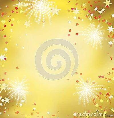 Firework celebration golden background