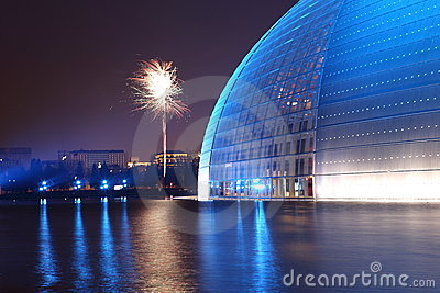 Firework and China opera hall