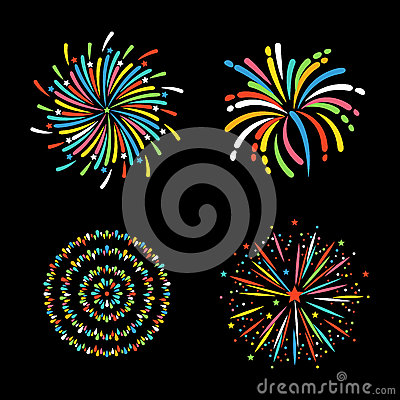 Firework different shapes colorful festive vector. Vector Illustration