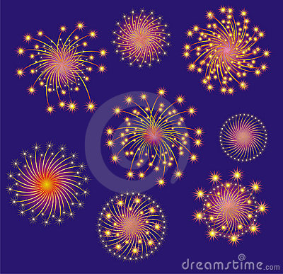 Firework display. Vector illustration