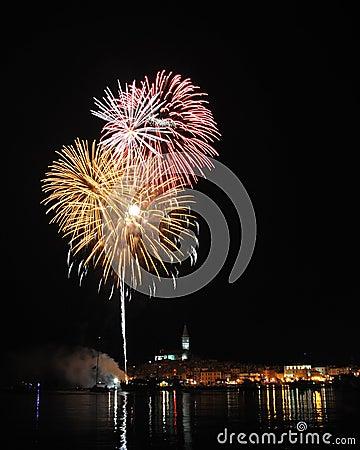 Firework over city Rovinj