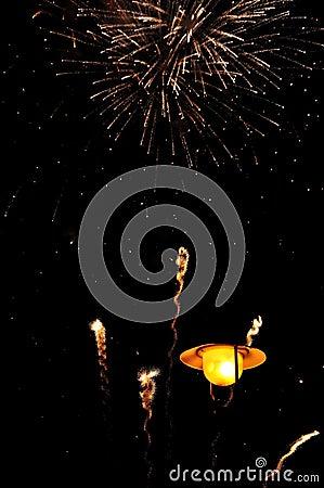 Firework over lantern