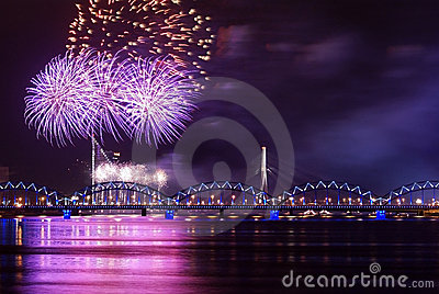Firework over river