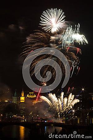 Firework over Vltava river