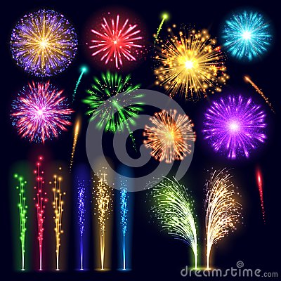 Free Firework Realistic Style Celebration Holiday Event Night Explosion Light Festive Party Vector Illustration Lights Stock Photo - 101216750