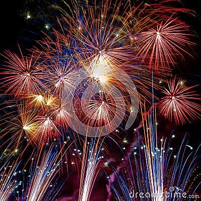 Firework streaks in the night