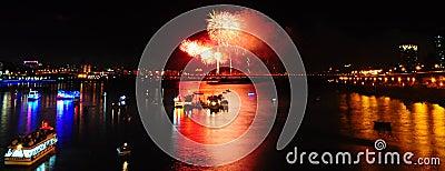 Firework at Twatiutia ( Taiwan ) Editorial Photo