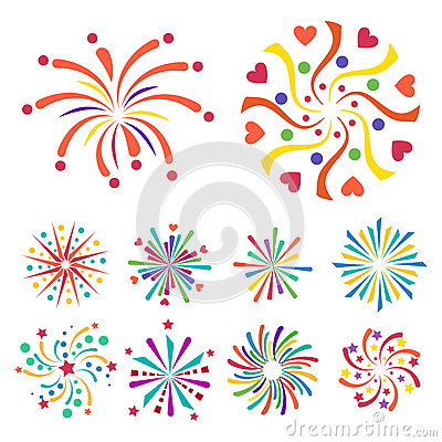 firework vector icon illustration celebration holiday event night new year fire festival explosion light cartoon vector